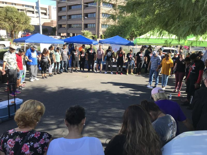 A prayer circle formed outside University Medical Center in Las Vegas on Monday.<i></i> (Matt Ferner/HuffPost)