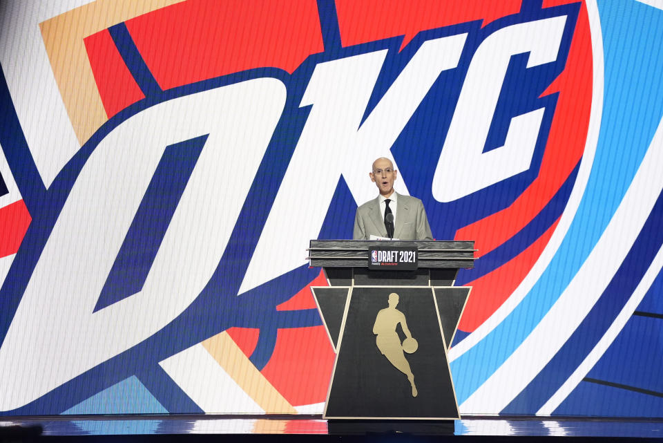 NBA Commissioner Adam Silver announces the sixth selection overall during the NBA basketball draft, Thursday, July 29, 2021, in New York. (AP Photo/Corey Sipkin)