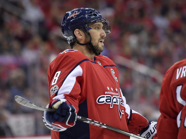 Washington Capitals left wing Alex Ovechkin (8), of Russia, looks on during the second period of a NHL hockey game against the Pittsburgh Penguins, Wednesday, Oct. 11, 2017, in Washington. (AP)