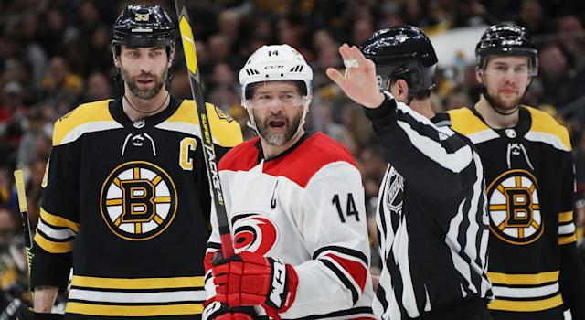 Carolina's captain Justin Williams showed off his wonderful way with words after his side fell 6-2 to the Boston Bruins on Sunday afternoon. (Photo by Bruce Bennett/Getty Images)