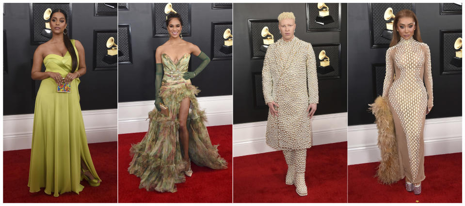 This combination of photos shows fashion worn by Lilly Singh, from left, Misty Copeland, Shaun Ross and Nikita Dragun at the 62nd annual Grammy Awards at the Staples Center on Sunday, Jan. 26, 2020, in Los Angeles. (Photos by Jordan Strauss/Invision/AP)