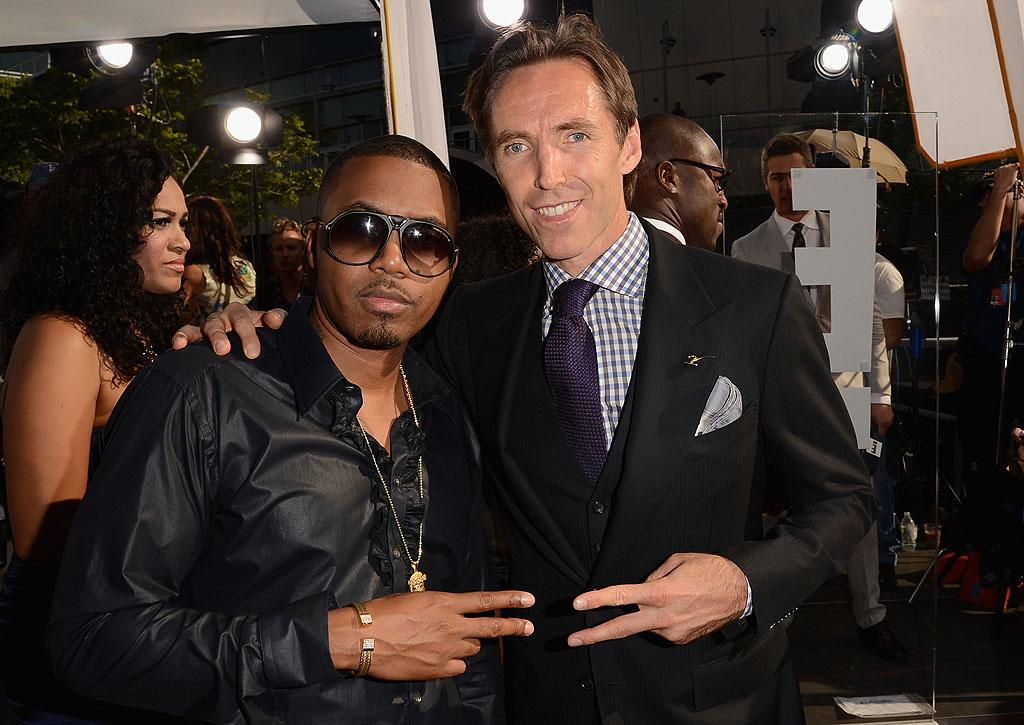 Rapper Nas and new Los Angeles Lakers team member Steve Nash arrive at the 2012 ESPY Awards.