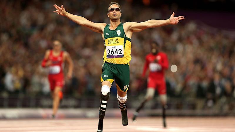 Oscar Pistorius in Aktion bei den Paralympischen Spielen 2012 in London. (Foto von Bryn Lennon/Getty Images)