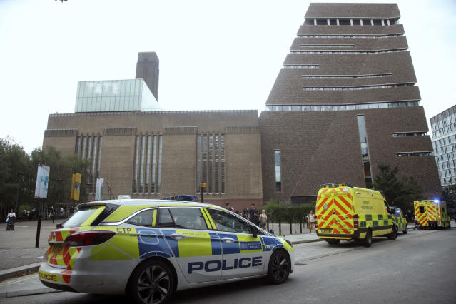 Emergency crews attending a scene at the Tate Modern art gallery following the incident in August 2019. (AP)