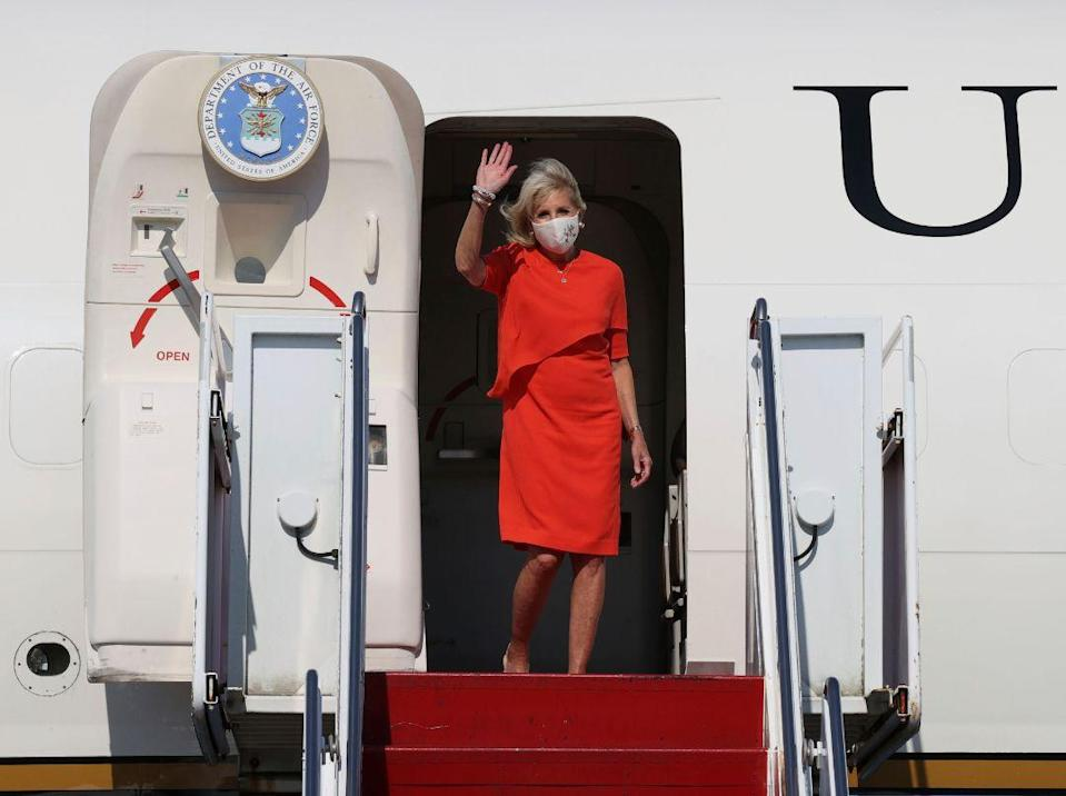 Jill Biden, first lady of the United States, arrives at Yokota Base in Tokyo on July 22, 2021, one day before the opening ceremony of the Tokyo Olympic Games. - Credit: AP