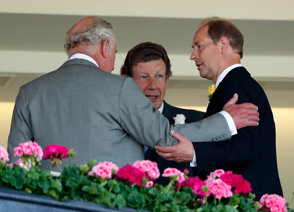 ASCOT, UNITED KINGDOM - JUNE 15: (EMBARGOED FOR PUBLICATION IN UK NEWSPAPERS UNTIL 24 HOURS AFTER CREATE DATE AND TIME) Prince Charles, Prince of Wales and Prince Edward, Earl of Wessex attend day 1 of Royal Ascot at Ascot Racecourse on June 15, 2021 in Ascot, England. (Photo by Max Mumby/Indigo/Getty Images)