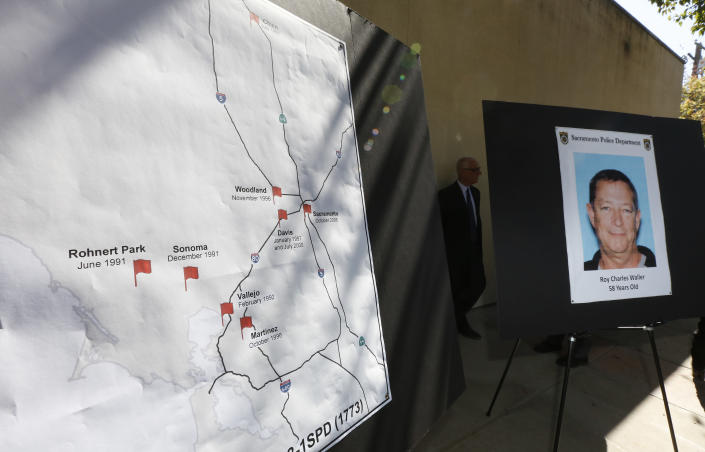 CORRECTS ARREST DAY OF WEEK TO THURSDAY, INSTEAD OF WEDNESDAY A map, left marks where a series of rapes in Northern California occurred starting in 1991, is displayed during a news conference Friday, Sept. 21, 2018, in Sacramento, Calif. Suspect Roy Charles Waller, 58, seen in photo at right, was taken into custody in Berkeley by Sacramento Police, Thursday, Sept. 20, 2018, and faces multiple counts of rape. (AP Photo/Rich Pedroncelli)