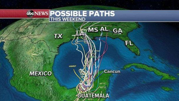 PHOTO: The spaghetti models for Cristobal indicates that the storm will strike somewhere in the central Gulf Coast by the end of the weekend into early next week. (ABC News)
