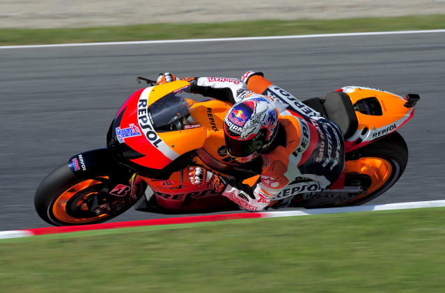 Repsol Honda Team's Australian Casey Stoner rides at the Catalunya racetrack in Montmelo, near Barcelona, on June 1, 2012, during the MotoGP first training session of the Catalunya Moto GP Grand Prix. AFP PHOTO / JOSEP LAGOJOSEP LAGO/AFP/GettyImages