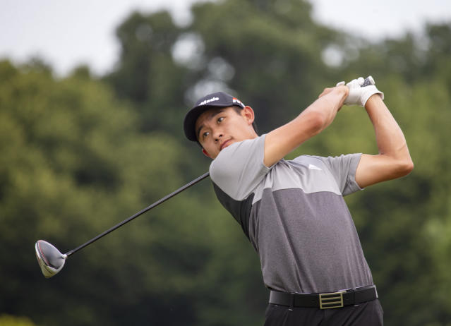 Collin Morikawa tees off on the first hole during the final round of the 3M Open golf tournament Sunday, July 7, 2019, in Blaine, Minn. (AP Photo/Andy Clayton- King)