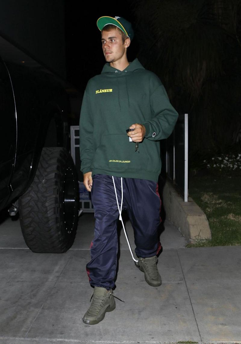 Justin Bieber was involved in a car collision on Wednesday night, when he struck a pedestrian in Beverly Hills after leaving a church service. Source: Backgrid
