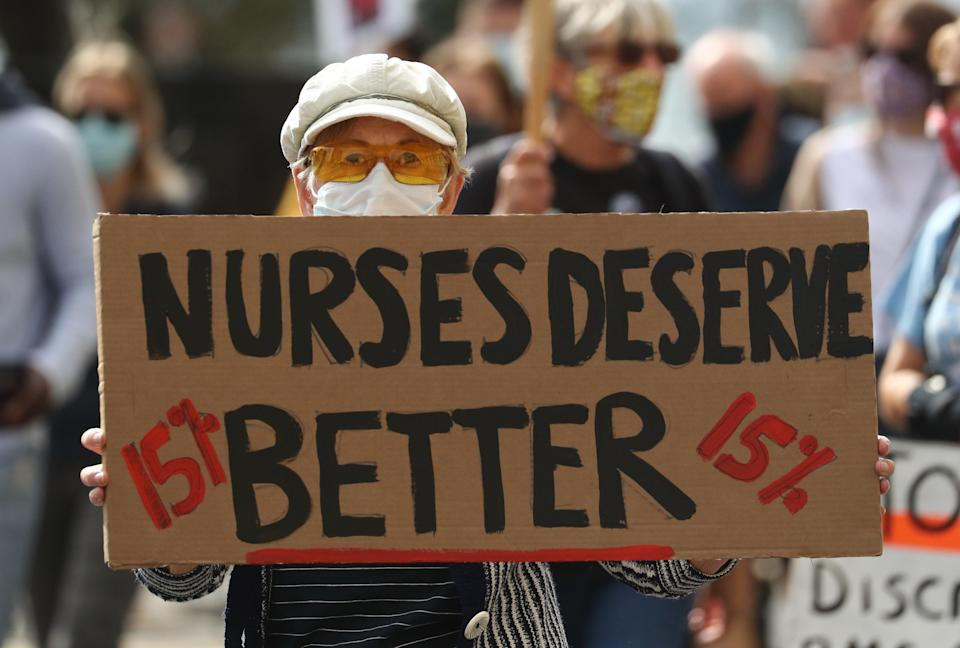 Protesters take part in a march in Brighton (Gareth Fuller/PA) (PA Archive)