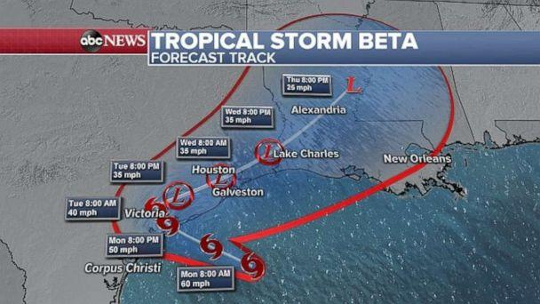 PHOTO: Tropical Storm Beta forecast track, Sept. 21, 2020. (ABC News)