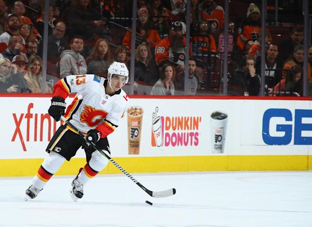"<a class=""link rapid-noclick-resp"" href=""/nhl/players/5470/"" data-ylk=""slk:Johnny Gaudreau"">Johnny Gaudreau</a> is in the midst of the best stretch of his career (Getty Images)"
