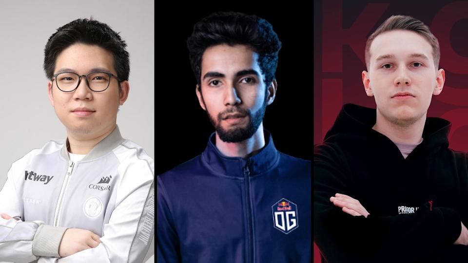 From left to right: Invictus Gaming's Zhou