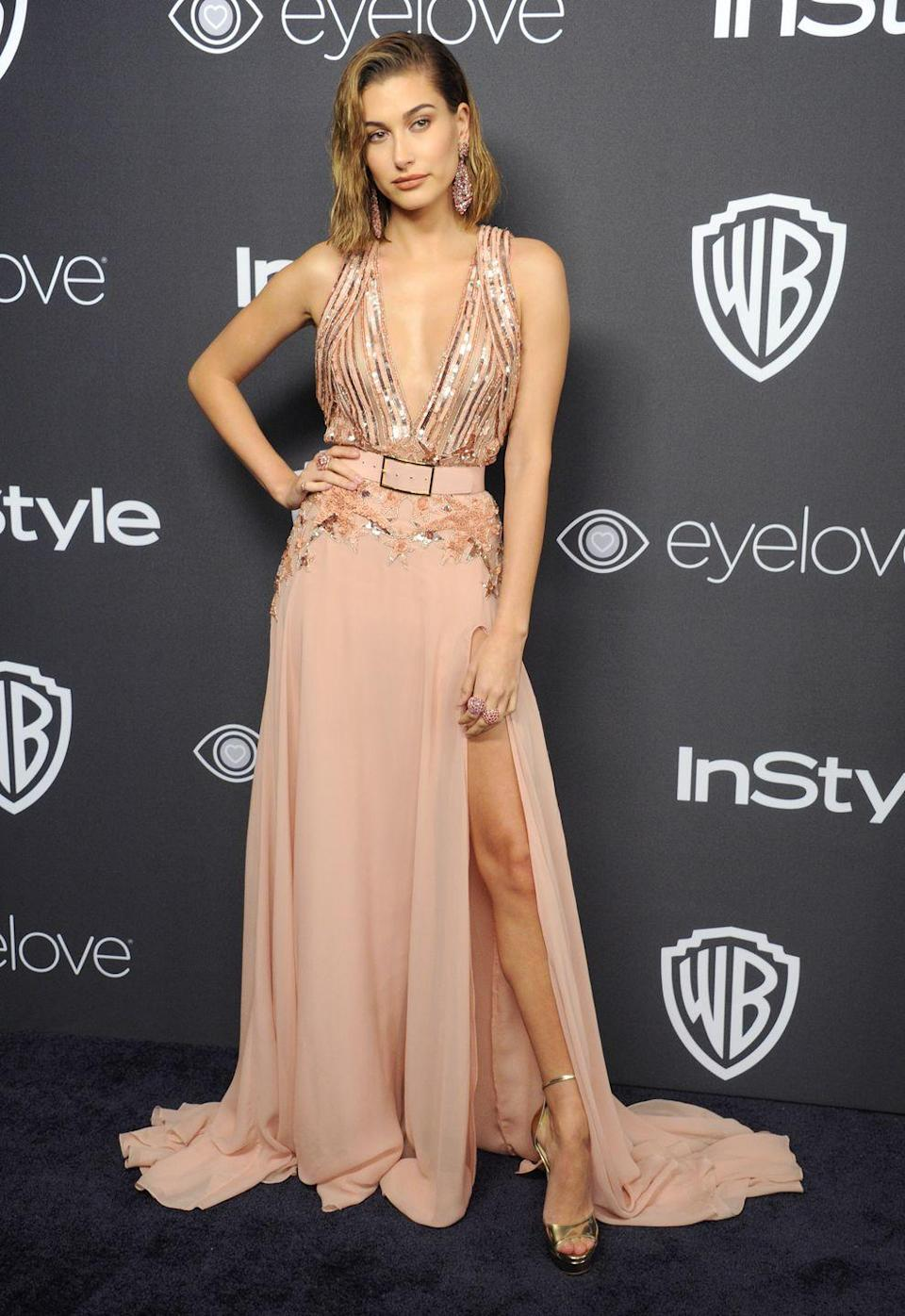 <p>Hailey wore this pink Elie Saab dress to the Warner Bros & InStyle afterparty in January.</p>