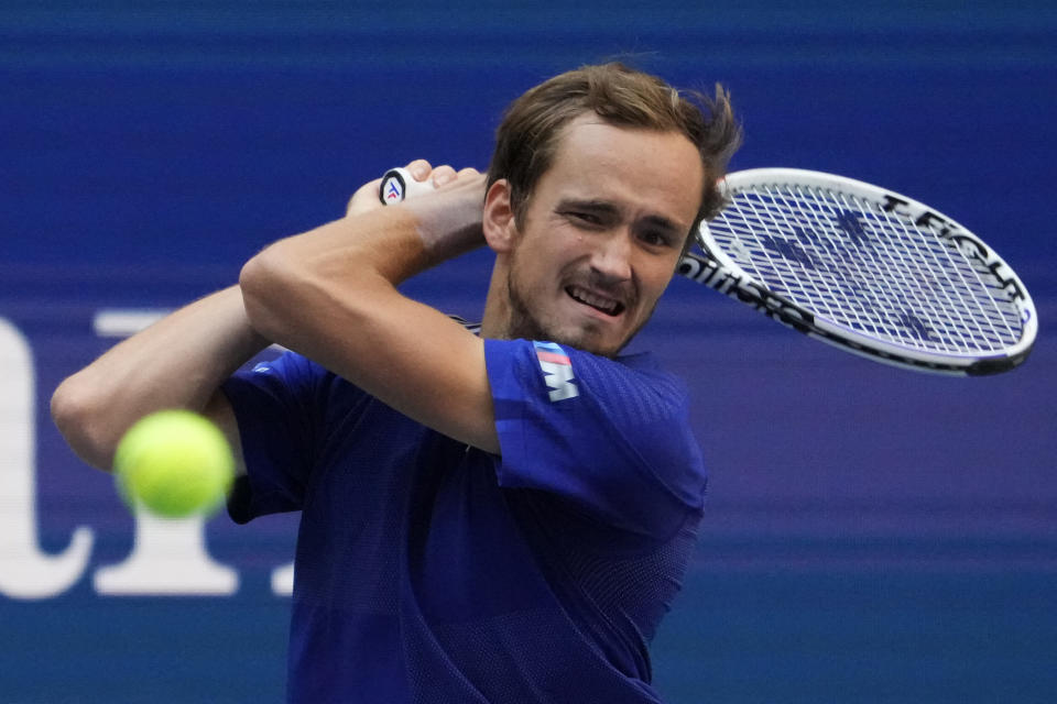 Pictured here, Russia's Daniil Medvedev hits a backhand in his US Open semi-final victory over Canada's Felix Auger-Aliassime.