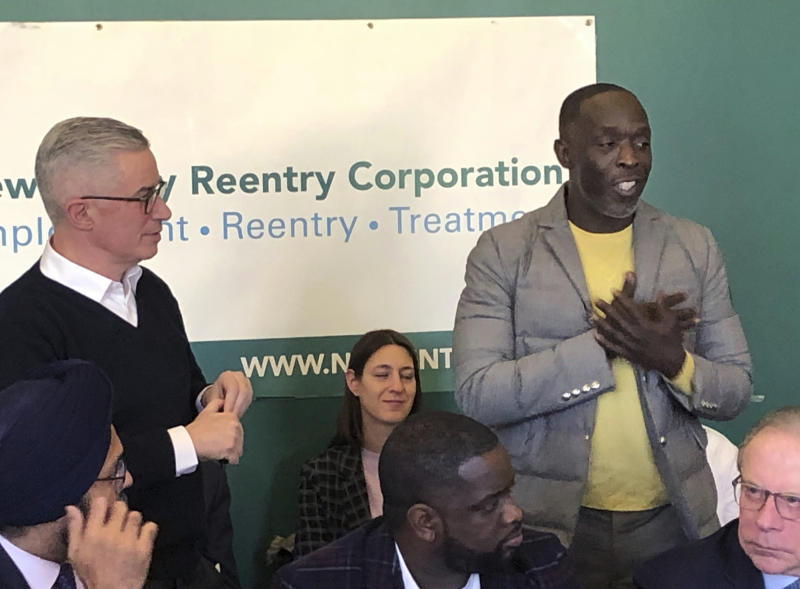 Actor Michael K. Williams, right, speaks at news conference on prisoner re-entry sponsored by New Jersey Re-entry Corporation in Newark, N.J., Friday, Feb. 14, 2020. At left is NJRC chairman and former New Jersey Gov. Jim McGreevey. At lower left is New Jersey Attorney General Gurbir Grewal. (AP Photo/David Porter)