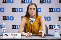 Iowa's Caitlin Clark addresses the media during the first day of the Big Ten NCAA college basketball media days, Thursday, Oct. 7, 2021, in Indianapolis. (AP Photo/Doug McSchooler)