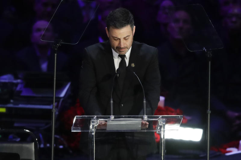 Jimmy Kimmel speaks during a celebration of life for Kobe Bryant and his daughter Gianna Monday, Feb. 24, 2020, in Los Angeles. (AP Photo/Marcio Jose Sanchez)