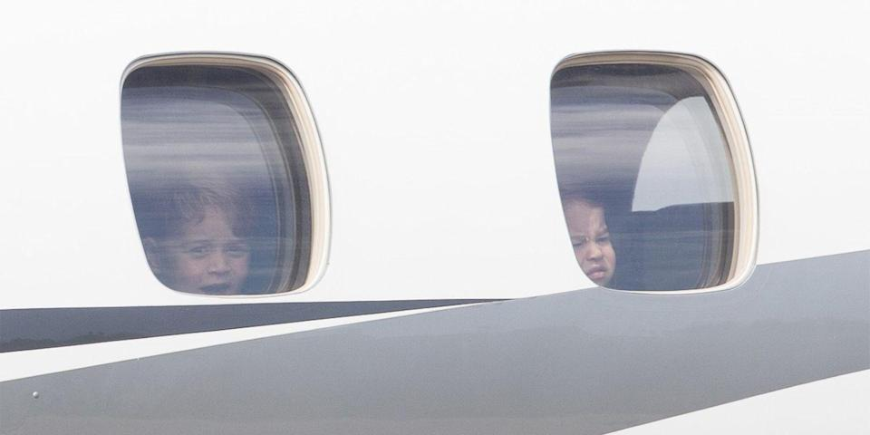 <p>Prince George and Princess Charlotte take in the sights as they depart from Berlin during their official trip to Poland and Germany.<br></p>