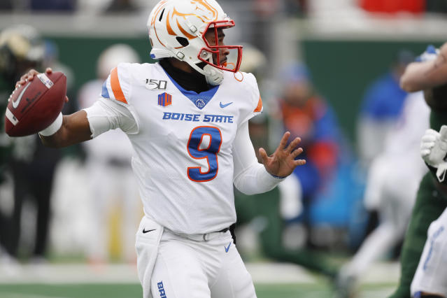 Boise State quarterback Jaylon Henderson looks to pass against Colorado State during the first half of an NCAA college football game Friday, Nov. 29, 2019, in Fort Collins, Colo. (AP Photo/David Zalubowski)