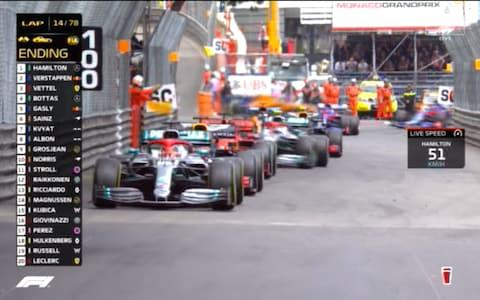Lewis Hamilton leads the field under the safety car - Credit: Sky Sports F1