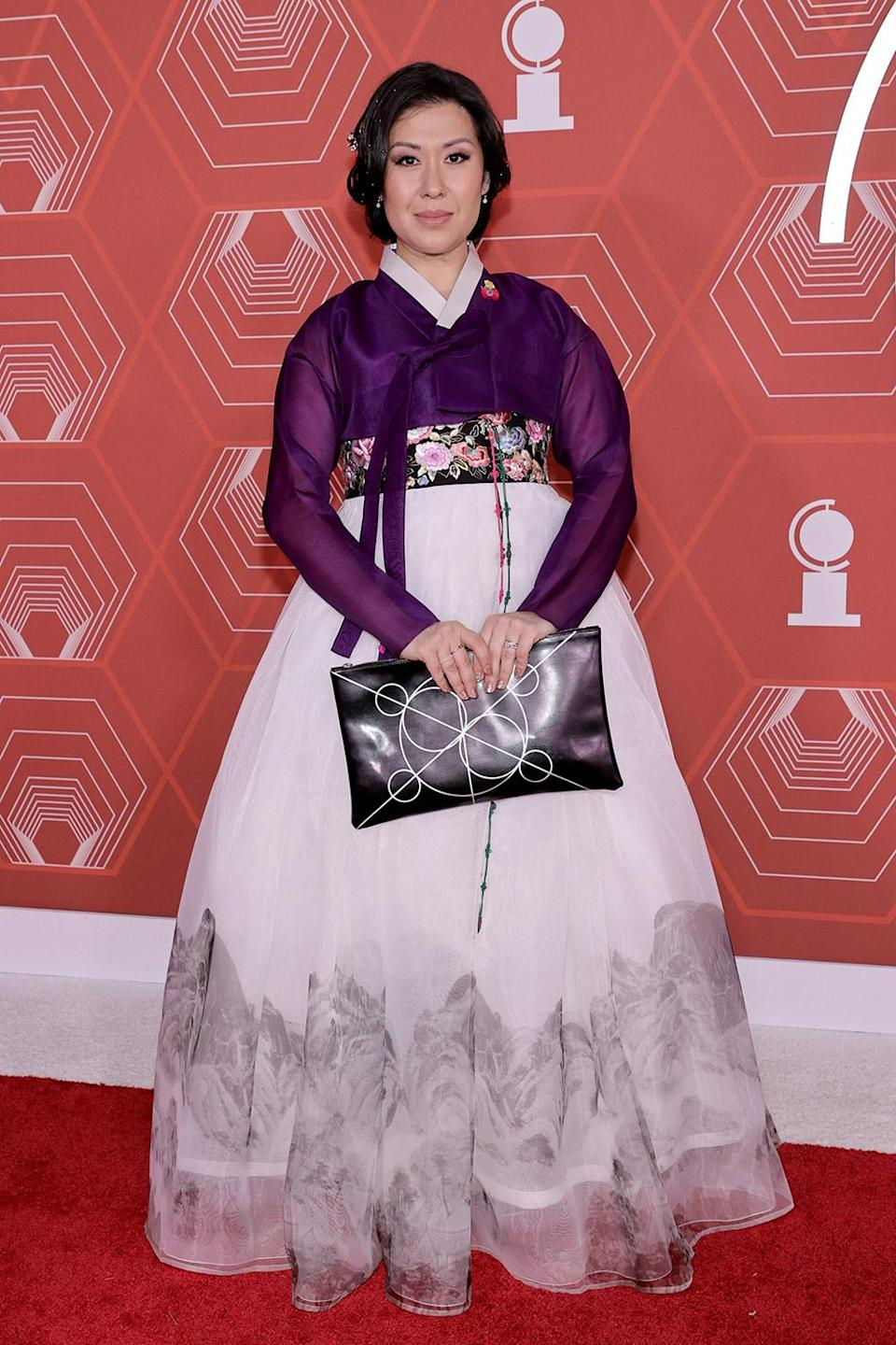 <p>Ruthie Miles wears a traditional hanbok to the 2021 Tony Awards. </p>