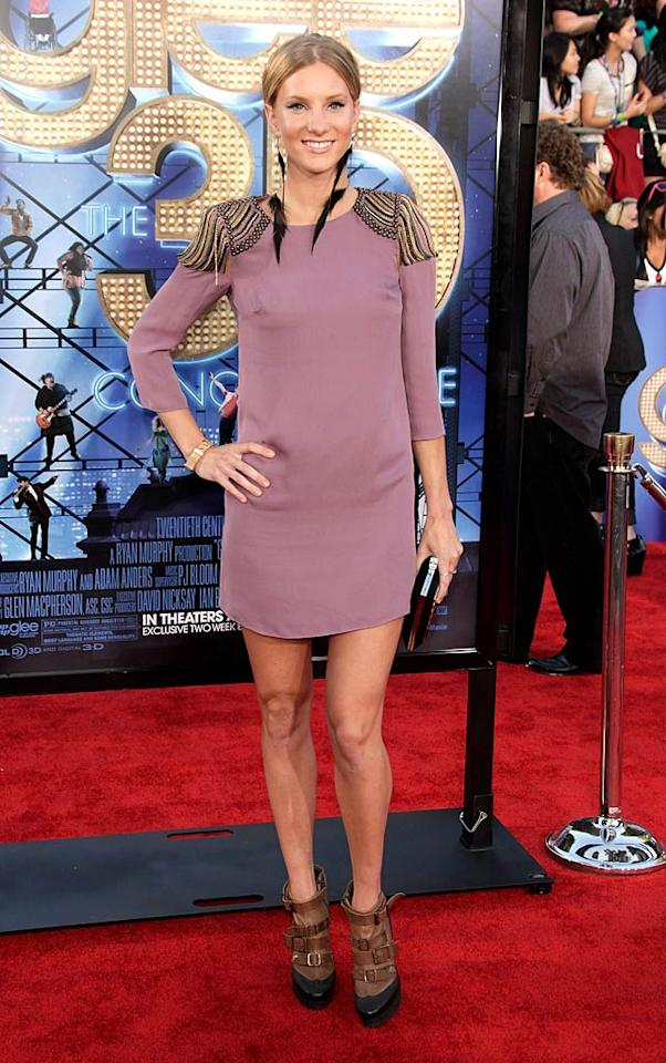 """Meanwhile at the premiere of the new """"Glee"""" flick, the uber talented Heather Morris -- who plays dumb blonde Brittany on the hit TV series -- showed up in this mess of a dress, straightjacket-inspired heels, and feathery earrings. Todd Williamson/<a href=""""http://www.wireimage.com"""" target=""""new"""">WireImage.com</a> - August 6, 2011"""