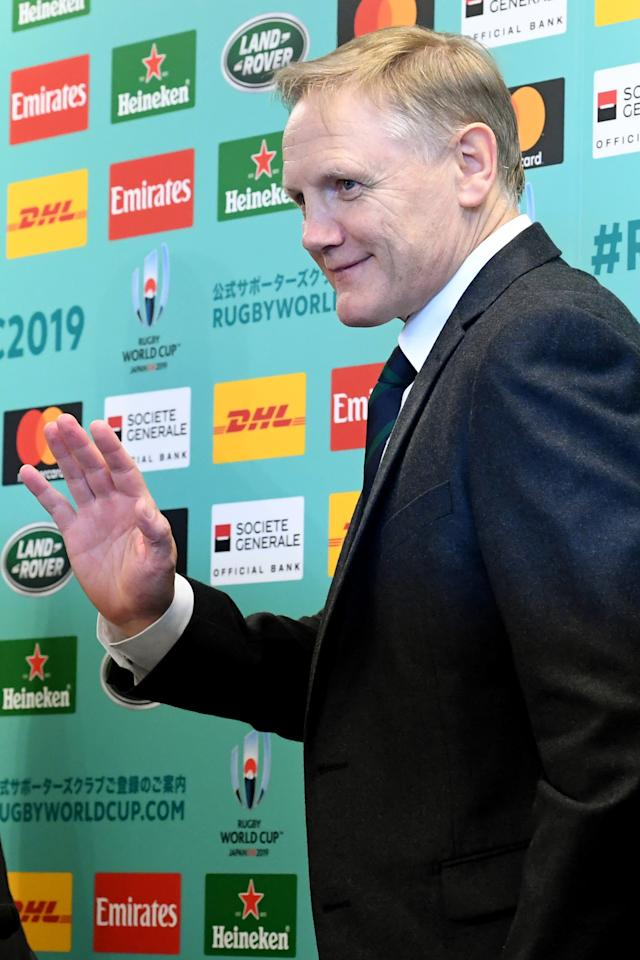 Ireland's head coach Joe Schmidt waves to journalists after his press conference following the Rugby World Cup Japan 2019 pool draw at Kyoto state guesthouse in Kyoto on May 10, 2017. (AFP Photo/Toshifumi KITAMURA)