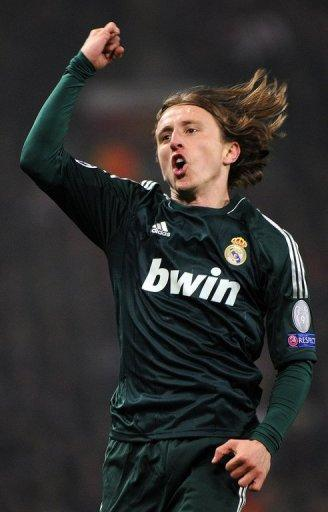 Real Madrid midfielder Luka Modric celebrates scoring the equaliser against Manchester United on March 5, 2013. Modric has been unable to hold down a first-team place since joining Madrid from Tottenham Hotspur last year