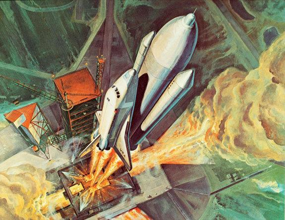 Early artist's rendering of the launch of NASA's space shuttle.