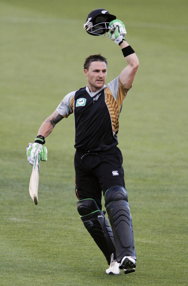 CHRISTCHURCH, NEW ZEALAND - FEBRUARY 28: Brendon Mcullum of New Zealand celebrates his century during the Twenty 20 International match between the New Zealand Black Caps and Australia at AMI Stadium on February 28, 2010 in Christchurch, New Zealand.  (Photo by Martin Hunter/Getty Images)