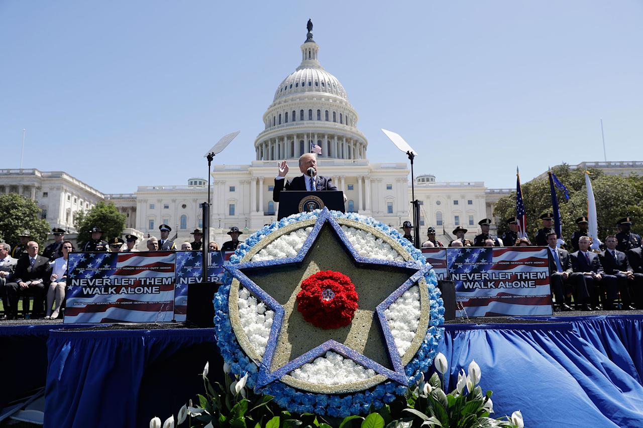 <p>President Donald Trump speaks at the 36th Annual National Peace Officers' memorial service, Monday, May 15. 2017, on Capitol Hill in Washington. (AP Photo/Evan Vucci) </p>