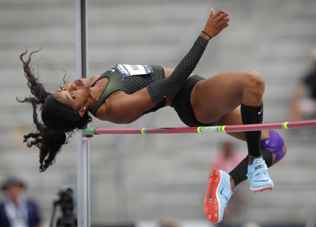 Erica Bougard clears the bar during the heptathlon high jump at the U.S. Championships athletics meet, Saturday, June 23, 2018, in Des Moines, Iowa. (AP Photo/Charlie Neibergall)