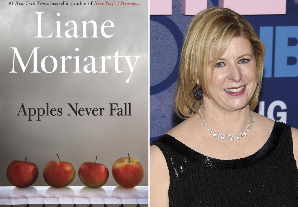 """This combination photo shows the cover of """"Apples Never Fall,"""" left, and author Liane Moriarty as she arrives at the second season premiere of HBO's """"Big Little Lies"""" in New York on May 29, 2019. (Holt via AP, left, and AP Photo)"""
