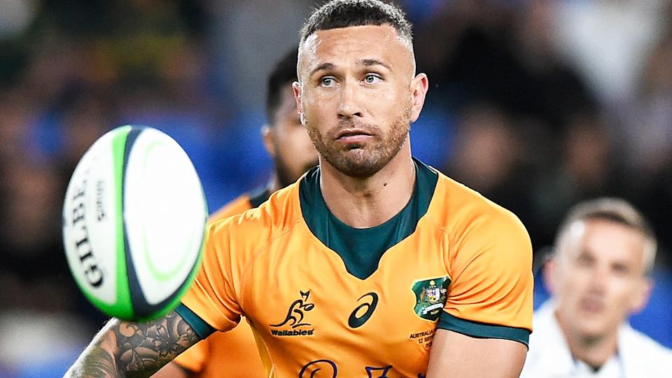Quade Cooper, pictured here in action for the Wallabies against South Africa.