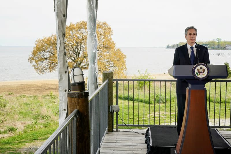 U.S. Secretary of State Antony Blinken speaks about climate change at the Chesapeake Bay Foundation in Annapolis, Maryland