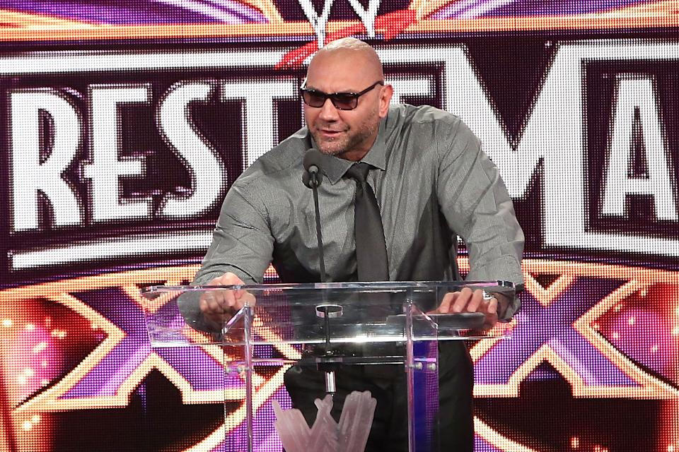 NEW YORK, NY - APRIL 01:  Dave Batista attends the WrestleMania 30 press conference at the Hard Rock Cafe New York on April 1, 2014 in New York City.  (Photo by Taylor Hill/WireImage)