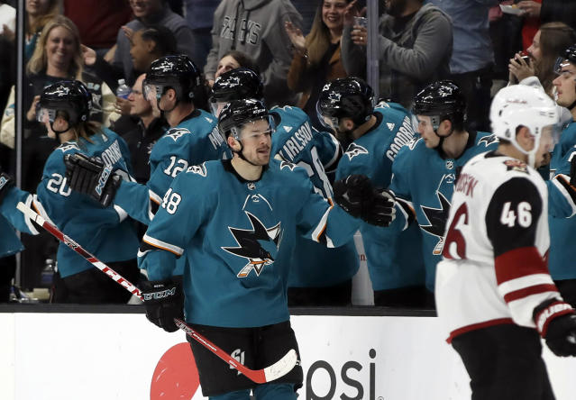 San Jose Sharks' Tomas Hertl (48) is congratulated after scoring a goal against the Arizona Coyotes in the second period of an NHL hockey game, Tuesday, Dec. 17, 2019, in San Jose, Calif. (AP Photo/Ben Margot)