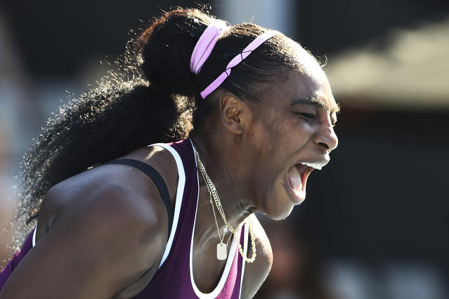 United States Serena Williams celebrates winning the a point during her finals singles match against United States Jessica Pegula at the ASB Classic in Auckland, New Zealand, Sunday, Jan 12, 2020. (Chris Symes/Photosport via AP)