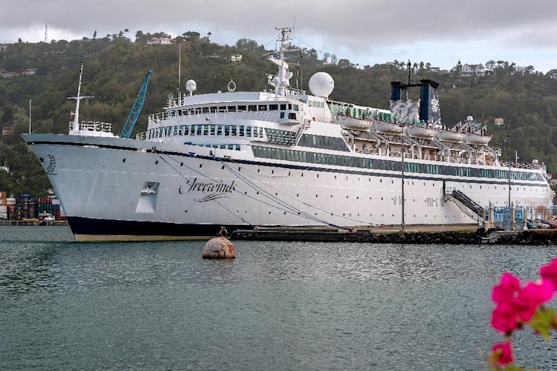 The Freewinds cruise ship owned by the Church of Scientology is seen docked in quarantine at the Point Seraphine terminal in Castries, Saint Lucia, on May 2, 2019