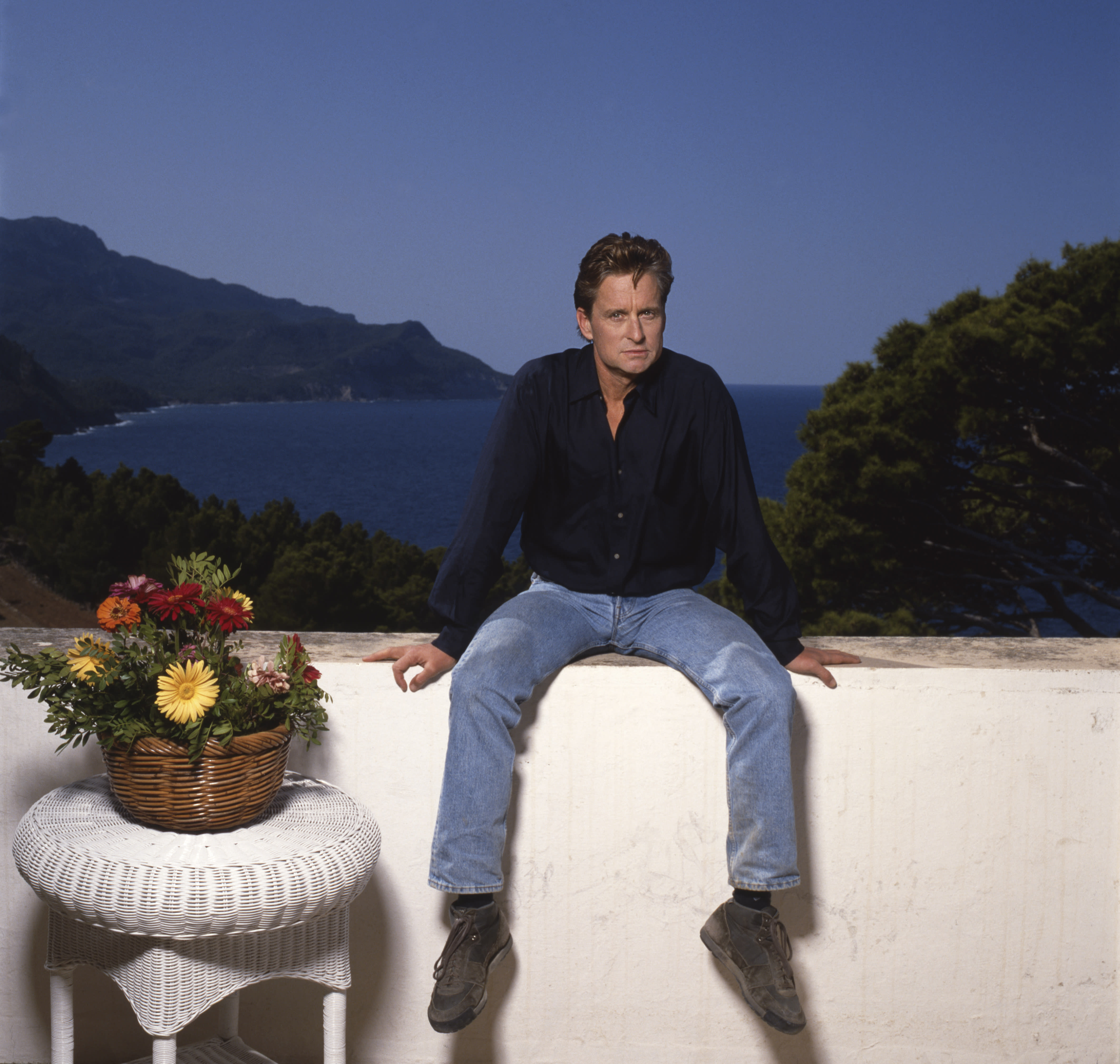 American actor Michael Douglas at his home in Majorca. (Photo by Terry O'Neill/Iconic Images/Getty Images)