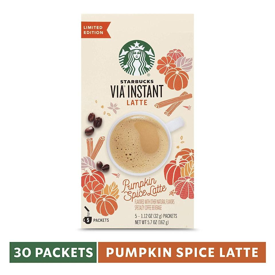 <p>If you're a Starbucks PSL fan, this is a necessity for you. This <span>Starbucks VIA Instant Pumpkin Spice Latte</span> ($40 for 30) will let you have your favorite seasonal drink anywhere.</p>