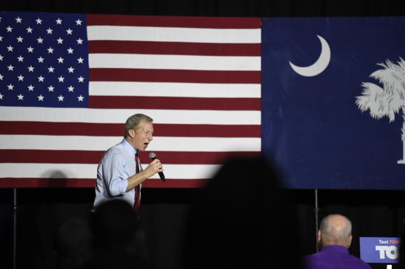 Democrat Tom Steyer addresses the crowd at his election-eve rally the night before the South Carolina presidential primary on Friday, Feb. 28, 2020, in Columbia, S.C. (AP Photo/Meg Kinnard)