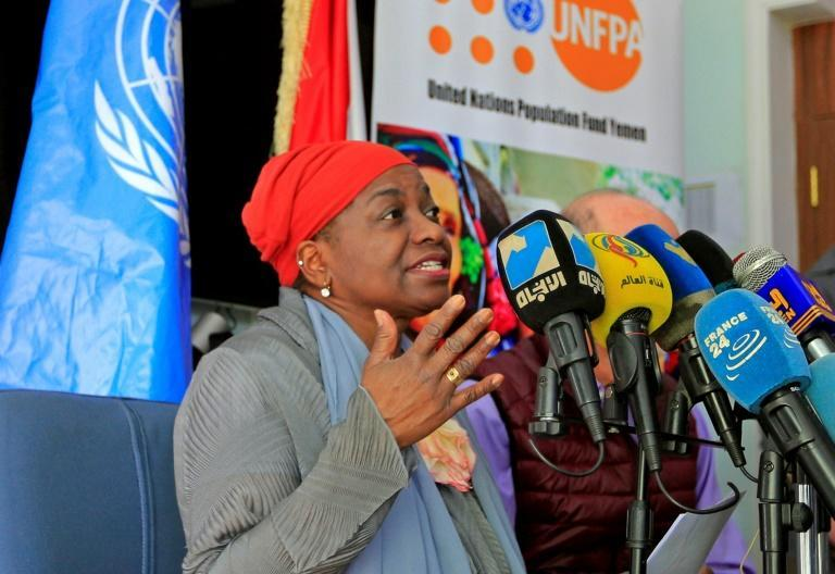 Natalia Kanem, UNFPA director, photographed in March 2021 (AFP/Mohammed HUWAIS)