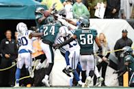 <p>Defensive back Malcolm Jenkins #27 of the Philadelphia Eagles breaks up a pass intended for wide receiver Ryan Grant #11 of the Indianapolis Colts during the fourth quarter at Lincoln Financial Field on September 23, 2018 in Philadelphia, Pennsylvania. The Philadelphia Eagles won 20-16. (Photo by Elsa/Getty Images) </p>