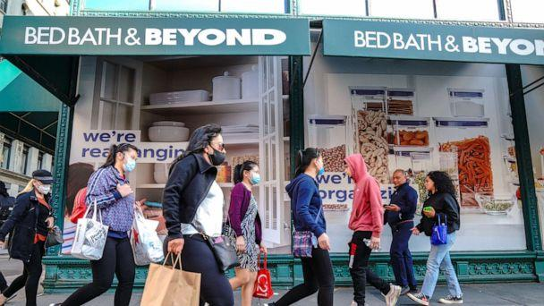 PHOTO: In this Sept. 22, 2020, file photo, people wearing face masks walk past a Bed Bath & Beyond store in New York. (John Nacion/SOPA Images/LightRocket via Getty Images, FILE)