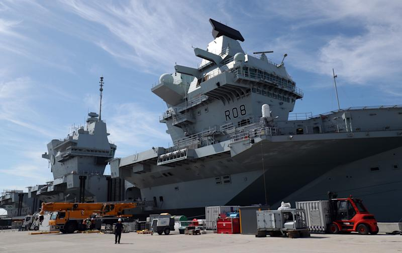 HMS Queen Elizabeth at berth in HMNB Portsmouth, as her crew prepare to sail to the United States for Westlant 19, where British F35s will take part in trials.