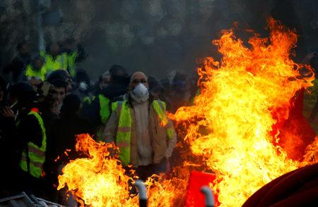 """FILE PHOTO: Demonstration of the """"yellow vests"""" movement in Angers"""